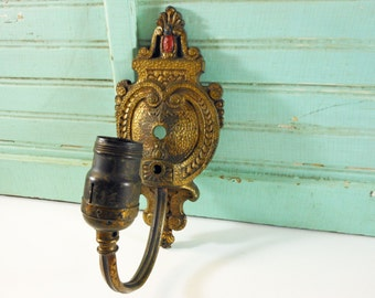 Vintage Ornate Heavy Brass Wall Sconce Light Fixture with Red Accent