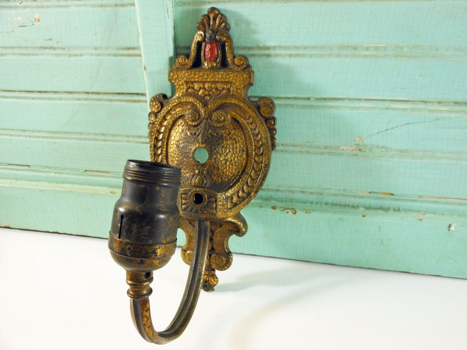 Ornate Brass Wall Lights : Vintage Ornate Heavy Brass Wall Sconce Light Fixture with Red