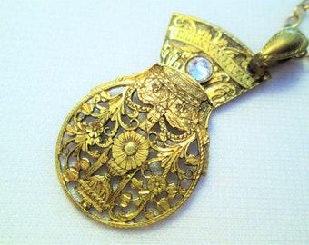 18th Century FUSEE BALANCE COCK Necklace Brass Gold Vintage Pocket Watch Parts Guilloche Hand Pierced Swarovski Pendant by DKsSteampunk