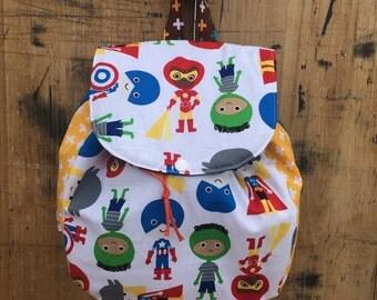 Toddler Super Hero Back Pack/Super Hero/Preschool Back Pack/Small Back Pack