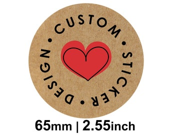 65mm Circle (2.55 inches) Kraft Round Custom Stickers/Labels for Product Labels, Wedding Stickers, Packaging
