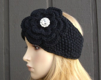 Crochet Flower Head Wrap Headband Earwarmer Winter Knit Black with Rhinestone Button
