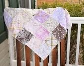 Baby Rag Quilt- Ready to ship Rag Quilt, deer rag quilt, purple rag quilt, baby shower gift, baby girl rag quilt, bird rag quilt