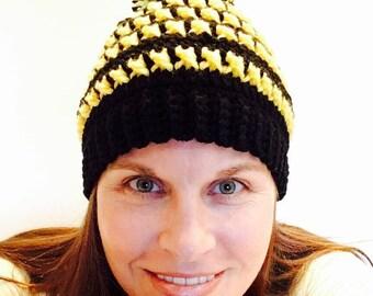 Crochet Hat for a cause - Pediatric Cancer - Pom Pom Crochet Hat - Beanie- Stripes- Winter Hat - knit hat - ski - baby -child - adult