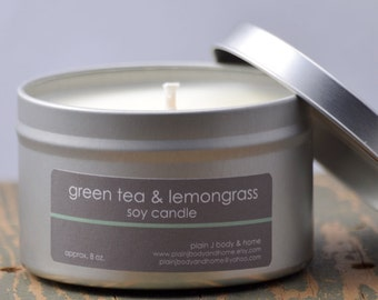 Green Tea & Lemongrass Soy Candle Tin 8 oz. - green tea candle - food candle - lemongrass candle - citrus candle - spa candle