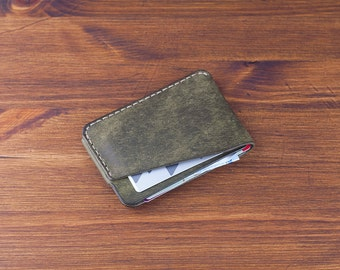 3-Pocket Leather Card Wallet  - distressed vegetable tanned leather (Forest) - DHK GOODS