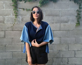 REclaimed Denim Capelet Soft Jacket- Repurposed Vintage Fabric