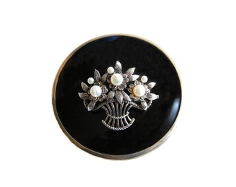 Mikimoto Pearl Brooch Signed Vintage Midcentury Jewelry Sterling Silver Flowers in a Basket Cultured Pearls Luxury Gift Collectibles