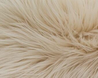 Faux Fake Fur Beige Mongolian 60 Inch Fabric by the Yard, 1 yard