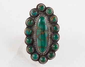 Turquoise Ring - Vintage 1940's Navajo Sterling Silver and Turquoise Ring