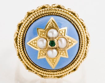 Antique Ring - Antique 1920's 19k Yellow Gold Enamel, Emerald & Pearl Ring