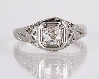 Antique Engagement Ring - Art Nouveau Engagement Ring - Antique Art Nouveau 18K White Gold Diamond Engagement Ring
