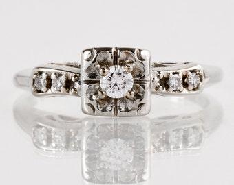 Vintage Engagement Ring - Vintage Diamond Engagement Ring in 14k White Gold