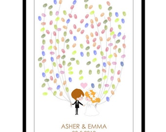 Personalised Wedding Guest Book Alternative - Couple Guestbook Poster - Fingerprint Guest Book - Canvas or Paper - Free Gift with Purchase