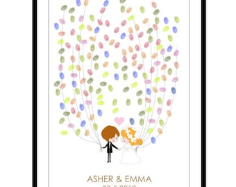 Wedding Guest Book Alternative - Personalized Wedding Couple Guestbook Poster - Thumbprints Guest Book - Free Gift with Purchase