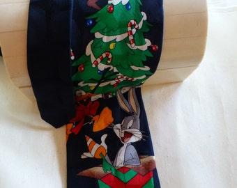 LOONEY TUNES TIE !  Vintage Tie all Sillk, Bugs, Tasmanian Devil , Daffy Duck ready to Party !