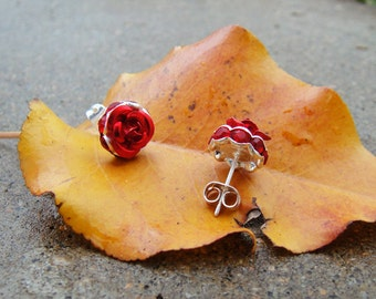 Jeweled Red Rose Earrings for Valentines, Gift for Mom, Girlfriend, Friend, Cute Simple Special
