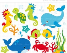 50% OFF SALE Clipart - Under the Sea (#1) / Dolphin / Whale - Digital Clip Art (Instant Download)