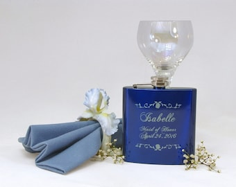 Personalized Bridesmaid Gift, 1 Engraved Flask, Stainless Steel Flask, Personalized Maid of Honor Gift, 1 Blue Flask