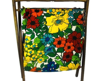 Vintage Knitting Caddy - Vintage Knitting Tote, Retro Knitting Caddy, Floral Knitting Caddy, Mid Century Knitting Caddy, Colorful Knit Bag