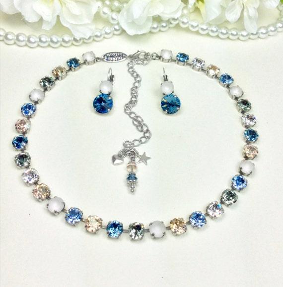 Swarovski Crystal 8.5mm Necklace - Designer Inspired - Denim, Golden, Lt.Sapphire, Crystal Matte - Subtle Sophistication - FREE SHIPPING