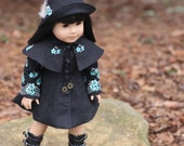 Black Coat Dress with Detachable Cape and Cloche Hat for 18 inch doll-  RESERVED for Mercedes