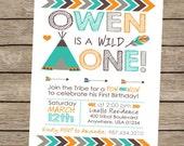 Wild One Invitation, Tribal Birthday Invitation, Pow Wow Birthday Invitation, Tribal Invitation, Boys Teepee Invitation PRINTABLE / PRINTED