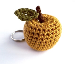 Teacher Thank You Appreciation Gift / Apple Gift Gold Golden Apple Key Ring Bag Charm / Miniature Fruit