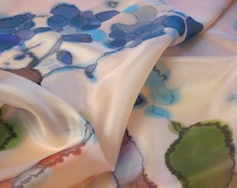 Hand dyed Botanical silk scarf Hand painted wearable art - ready to ship