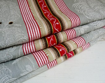 "Vintage French STRIPED/ DAMASK TICKING, Art Nouveau Pattern in Gray, Red, Beige, and Brown. 100cm x 150cm or 39 "" x 59 ""."