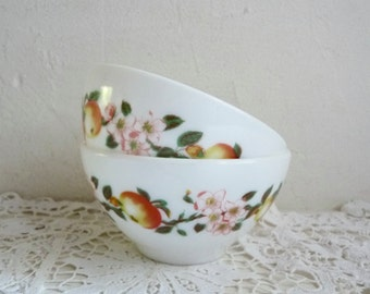 Vintage pair of French ARCOPAL BOWLS, White Milk glass with Fruit/ Floral Pattern. Apples and Blossom.