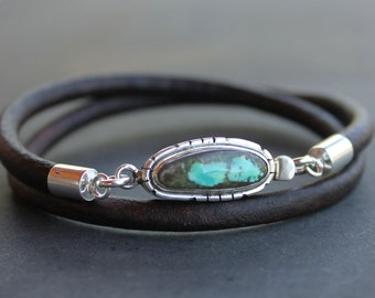 Turquoise Mens Bracelet - Turquoise, sterling silver, leather mens bracelet, anniversary gift for men,  mens turquoise jewelry