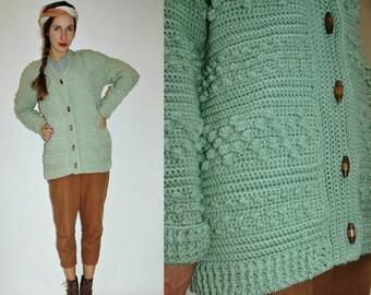 SHOP IS AWAY --- 1970s Mint Green Bobble Knit Wool Cardigan Sweater