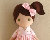 Fabric Doll Rag Doll Brown Haired Girl in Pink and Gold Heart Dress