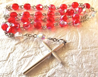 Anglican Rosary in Red Crystal