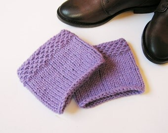 READY to SHIP! Boot cuffs Knit Wool Leg warmers  Hand knit Wool Lavender  Boot toppers