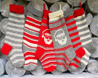 Avialible 2017!!Hand knit Christmas Stocking Personalized Wool Hand knit Striped stockings Grey White Red Christmas decoration gift