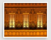 Paris illustration - Paris balcony (night version) - Art Illustration Print art print Home decor Architectural drawing Paris facade Orange