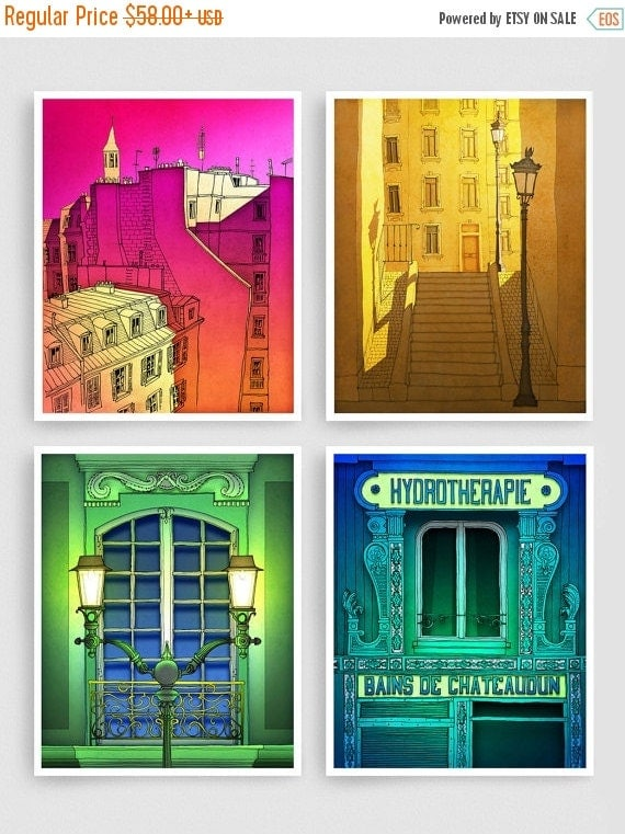 20% OFF SALE: Any FOUR Prints - Save 30 Percent,Set of four Illustrations,Paris Illustration Art Prints Poster Home decor Wall art Mixed med