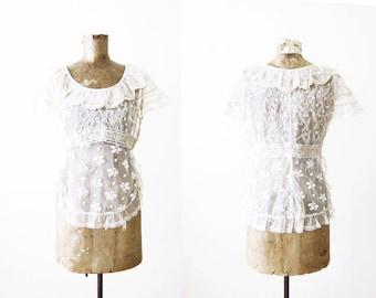 Vintage Lingerie / 1930s Lace Blouse / Ecru / Off White / 40s Mesh Lace Top