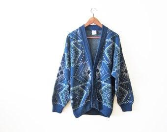 Kilim Cardigan / Boho Sweater / Blue Oversized Cardigan / Grunge Sweater