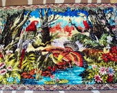 Vintage woven wall tapestry Moroccan / Turkish plush wall panel Jungle birds