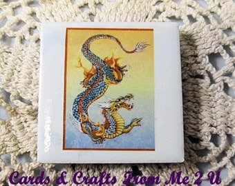 Small Tiles, Mini Magnets, 2 x 2 Ceramic Tiles, Oriental, Dragon, Geisha, Boat, Fun Accessories, Great Stocking Stuffer