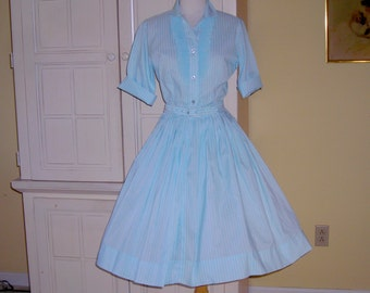 60's Lady Manhattan aqua stripe shirtwaist dress, wash and wear, Dacron polyester fabric, great traveler