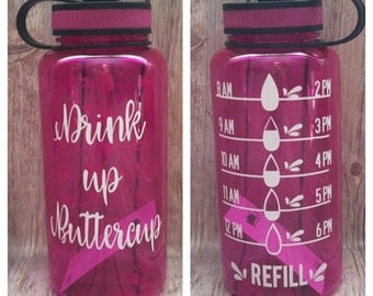 Water intake bottle tracker, Drink up Buttercup, Water tracker,  gym water bottle, keep track of water bottle, exercise