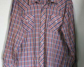 vintage men's western plaid shirt size 17-34 by champion westerns