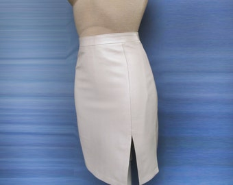 Stylish pencil Leather Skirt Ivory with pearl effect Genuine New Dress