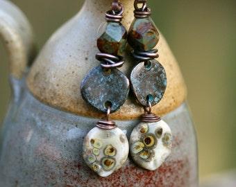 Rustic Casual Summery * Indigo Blue * earrings n194 in White - Earthy Natural . Organic Jewelry . Artisan Lampwork . Organic  in handmade