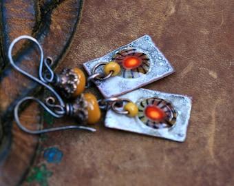 Bohemian Enamel Primitive earrings n81- artisan floral enamel in handmade . retro vintage . earhy primitive . yellow red enameled slabs