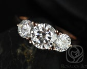 Tina 7mm 14kt Rose Gold Round FB Moissanite 3 Stone Engagement Ring (Other metals and stone options available)